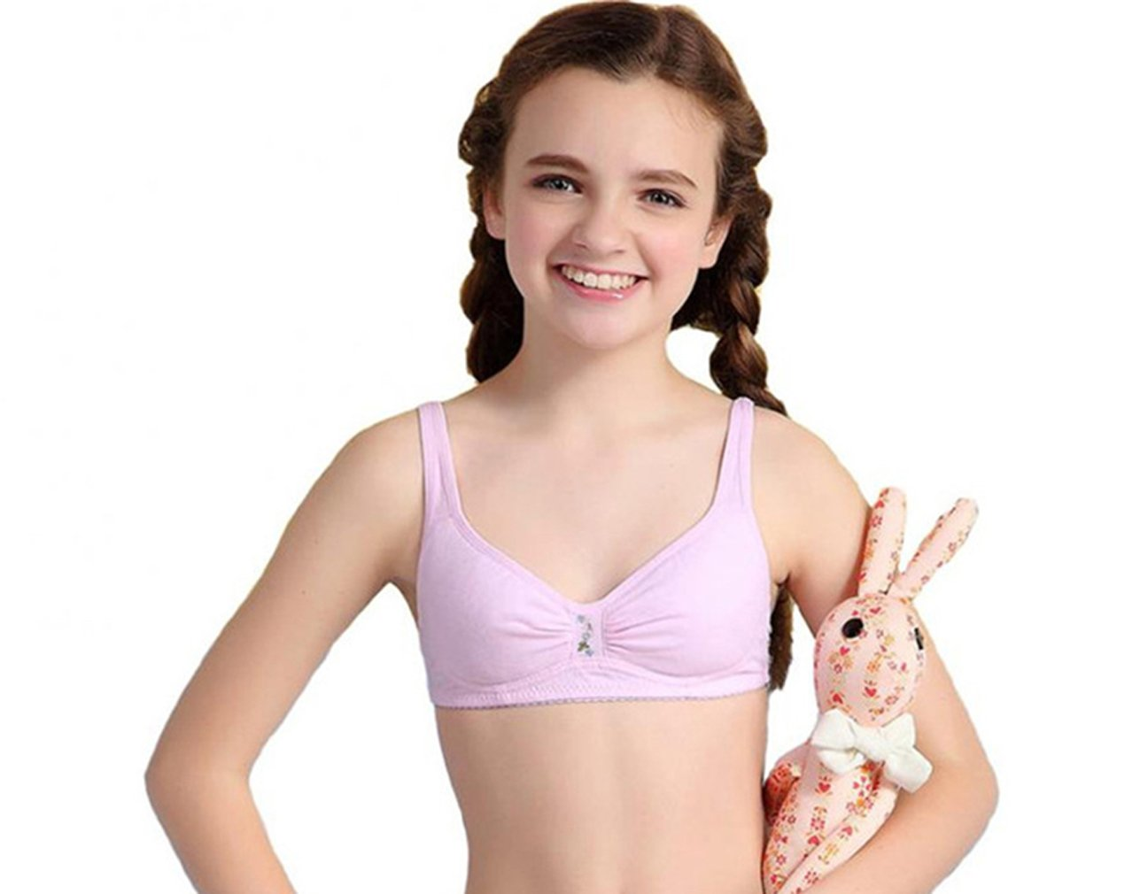 MANJIAMEI Young Girl First Time Thin Cup Cotton Training Bra with Matching Pants