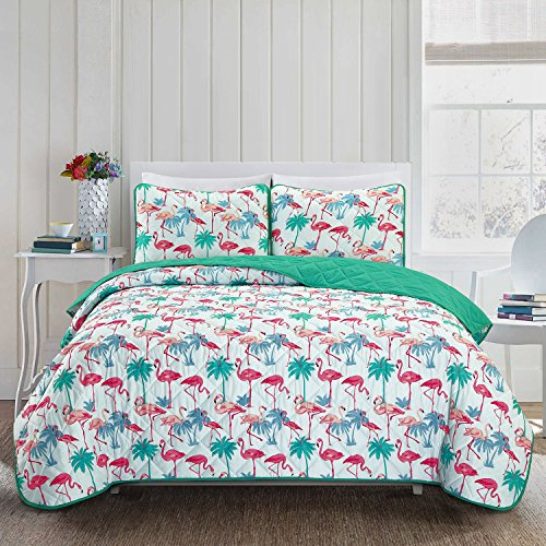 Flamingo Bedspreads Twin size Lightweight and Reversible (Turquoise, Light blue, Orange, Red)