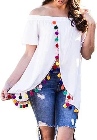 FAMILIZO Camisetas Mujer Verano Blusa Mujer Elegante Camisetas Mujer Manga Corta Blancas Camisetas Mujer Fiesta Camisetas Sin Hombros Mujer Camisetas Hombro de Ropa T Shirt Woman (S, Blanco): Amazon.es: Ropa y accesorios