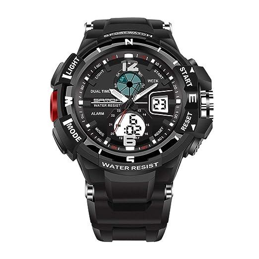Sanda 289 Impermeable Hombres Mujeres Niños Deportes Reloj Unisex Buceo Reloj de Camping Reloj Militar Multifuncional - Negro Completo: Amazon.es: Relojes