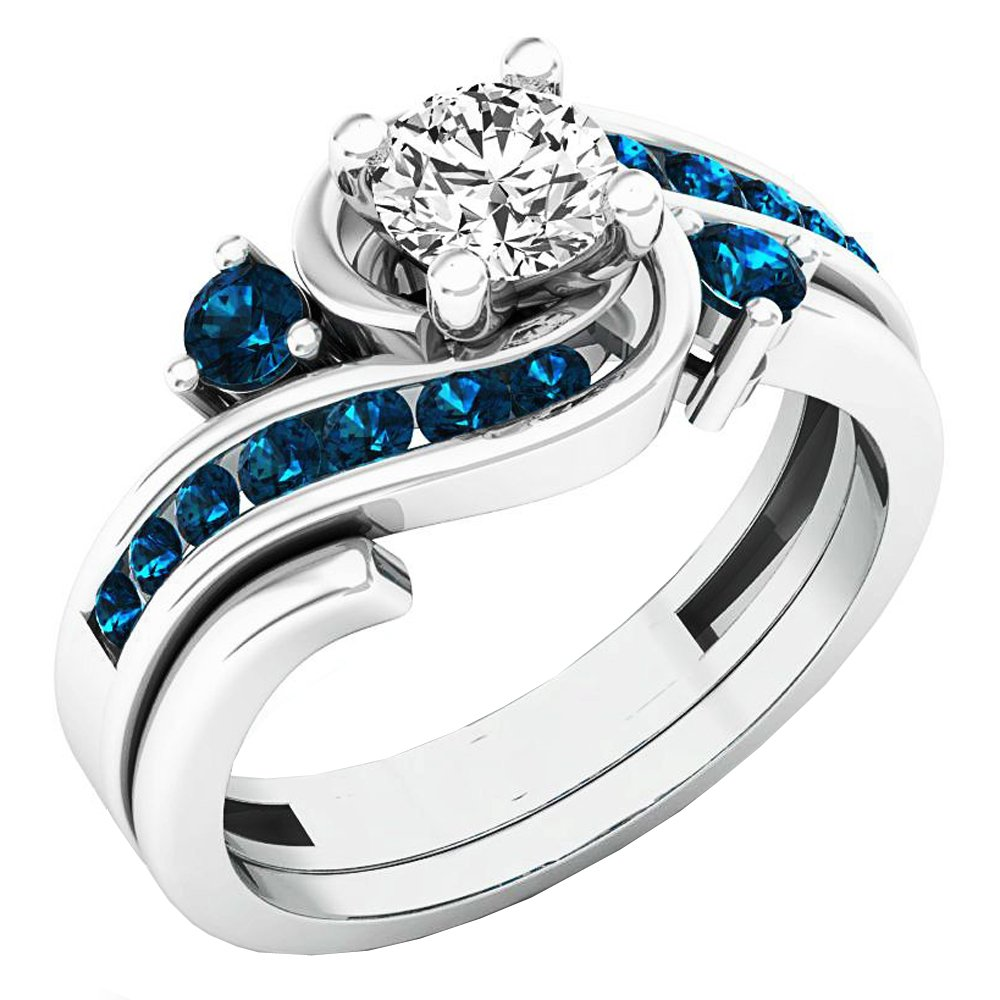 Dazzlingrock Collection 0.95 Carat (ctw) 14K Round Blue and White Diamond Engagement Ring Set 1 CT, White Gold, Size 7