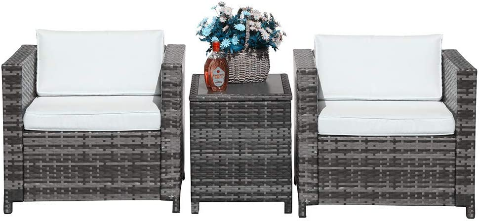 Patiorama 3 Pieces Patio Set Outdoor Wicker Patio Furniture Sets Modern Bistro Set Rattan Chair Conversation Sets with Aluminum Table Grey