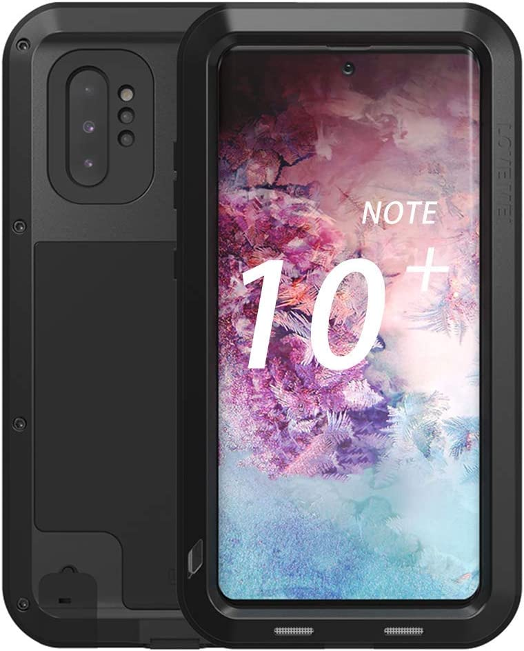 """Galaxy Note 10 Plus Case,Bpowe Super Shockproof Silicone Aluminum Metal Armor Tank Heavy Duty Sturdy Protector Cover Hard Case for Samsung Galaxy Note 10 Plus/Galaxy Note 10+ 5G 6.8"""" 2019 (Black)"""