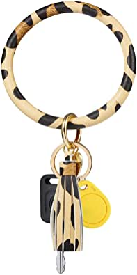 Wristlet Keychain Bracelet,Leather Tassel Key Chain, Large Circle Key Ring Bangle Keyrings For Women Girls Leopard Color