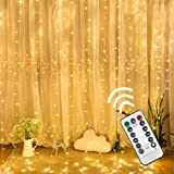 VIPMOON Window Curtain Lights,3m x 3m 300LED Warm White USB Powered 8 Modes Copper Wire Curtain Lights,Remote Control Fairy Starry String Lights with Timer for Outdoor Indoor Party Wedding Decorations