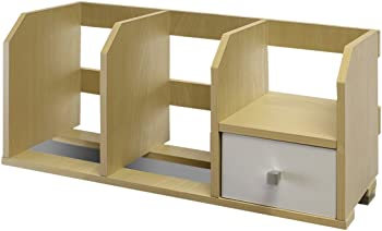 Furinno Pasir 12247SBE/WH Desk Storage Shelf with Bins