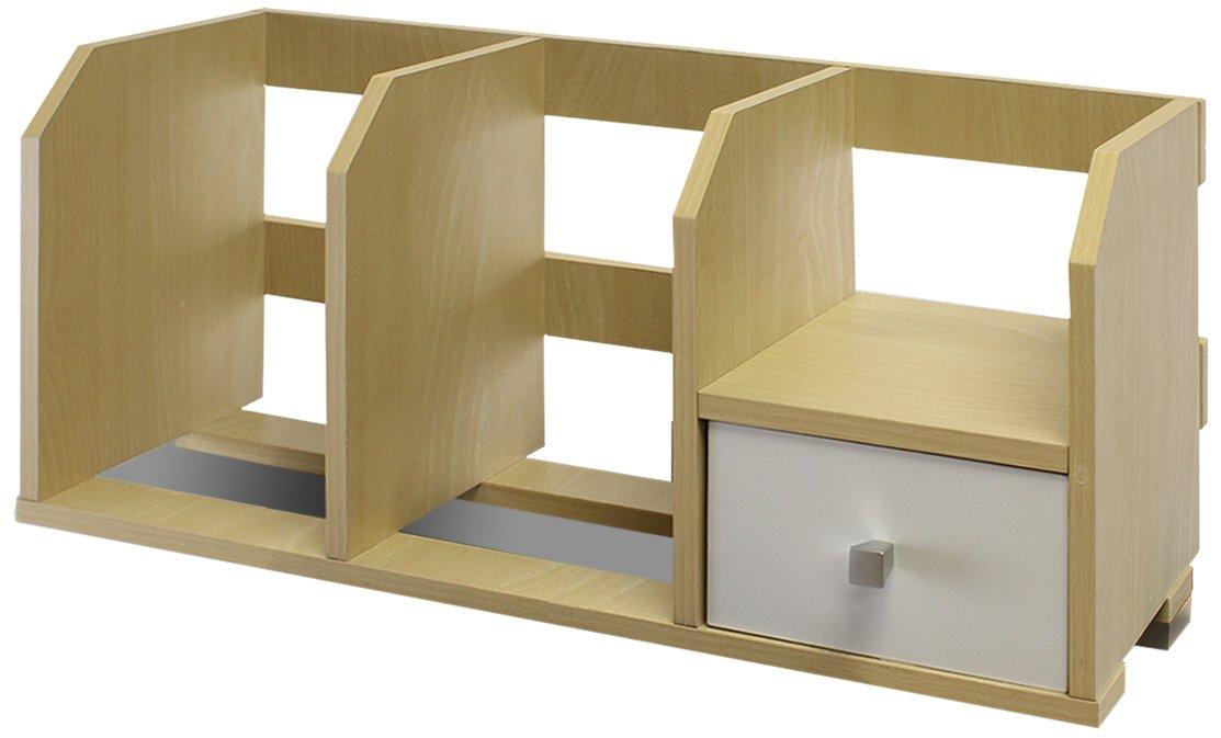 Furinno 12247SBE/WH Pasir Desk Storage Shelf with Bin, Steam Beech/White
