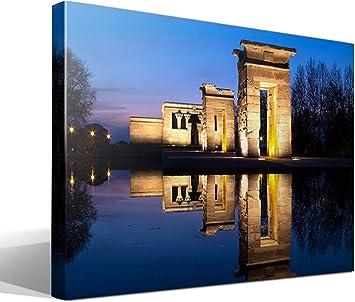 cuadro canvas templo de debod en Madrid - 75cm x 55cm - Fabricado en España: Amazon.es: Hogar