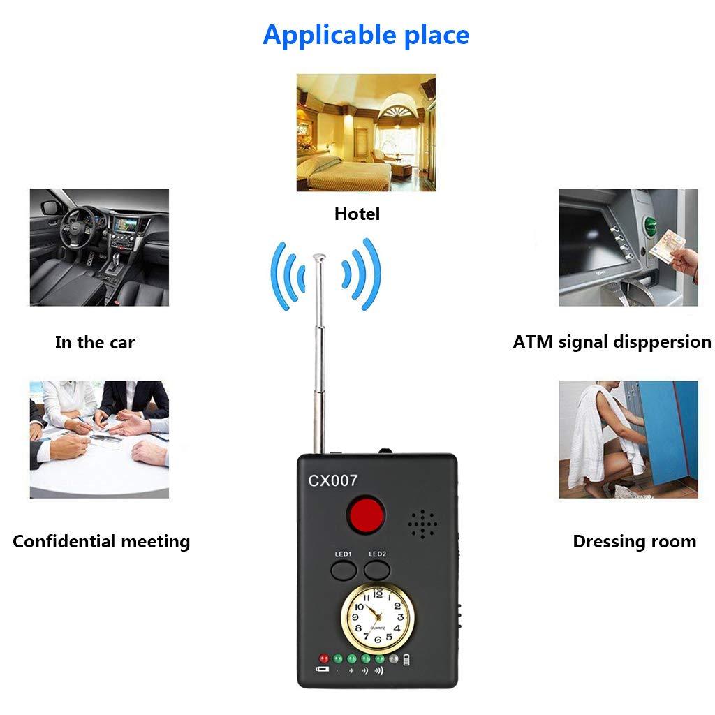 LLCOFFGA Detector Anti-EspíA CáMara Bug RF Detector De SeñAl InaláMbrica CáMara Oculta Rastreador GPS InaláMbrico RF Ultra Alta Sensibilidad Detector De ...