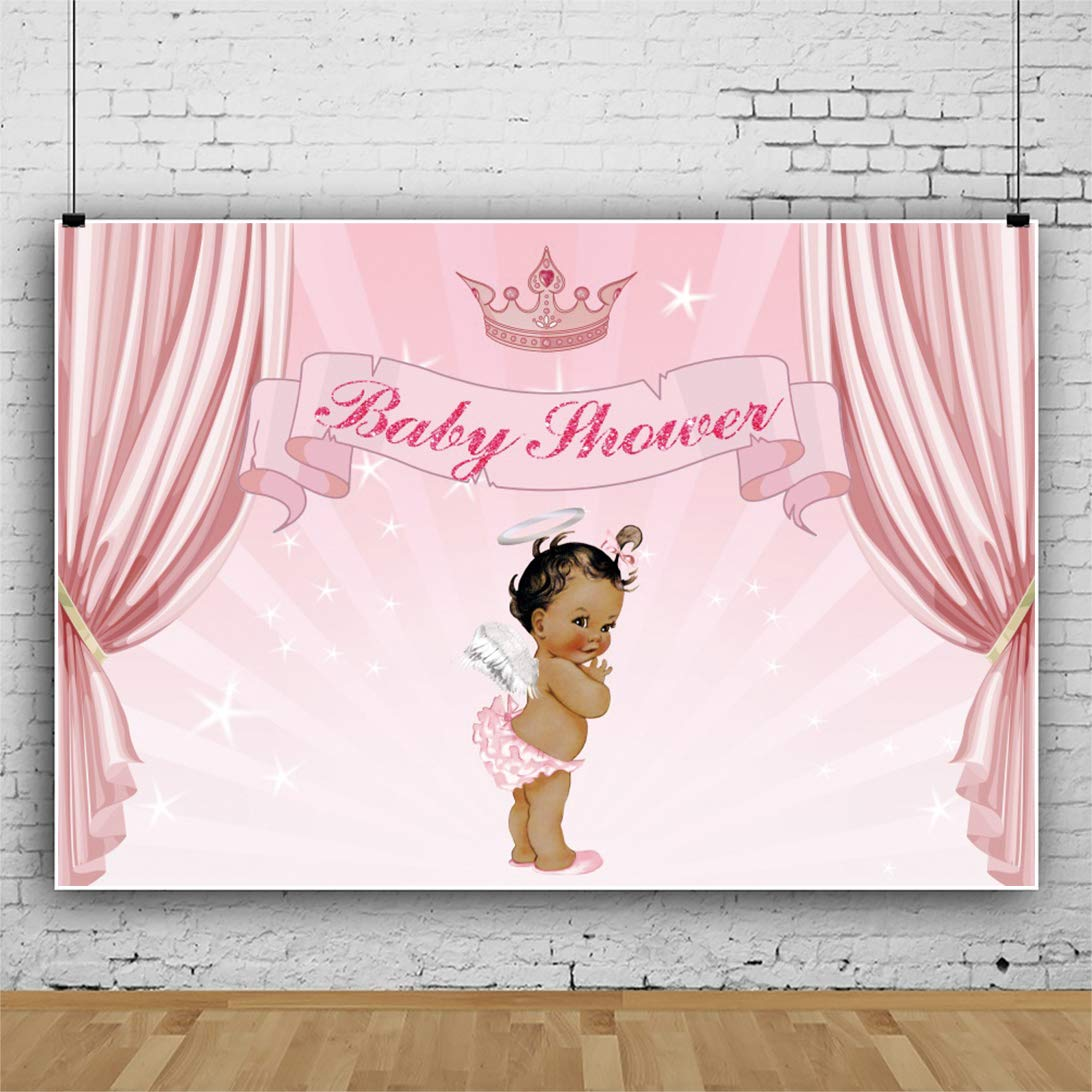 8x6.5ft Backdrop Baby Shower Backdrop Royal Crown Angel Wings Angel Halo Pink Curtains Holy Light Photography Background Christening Baptism Welcome Newborn Little Angel Portrait