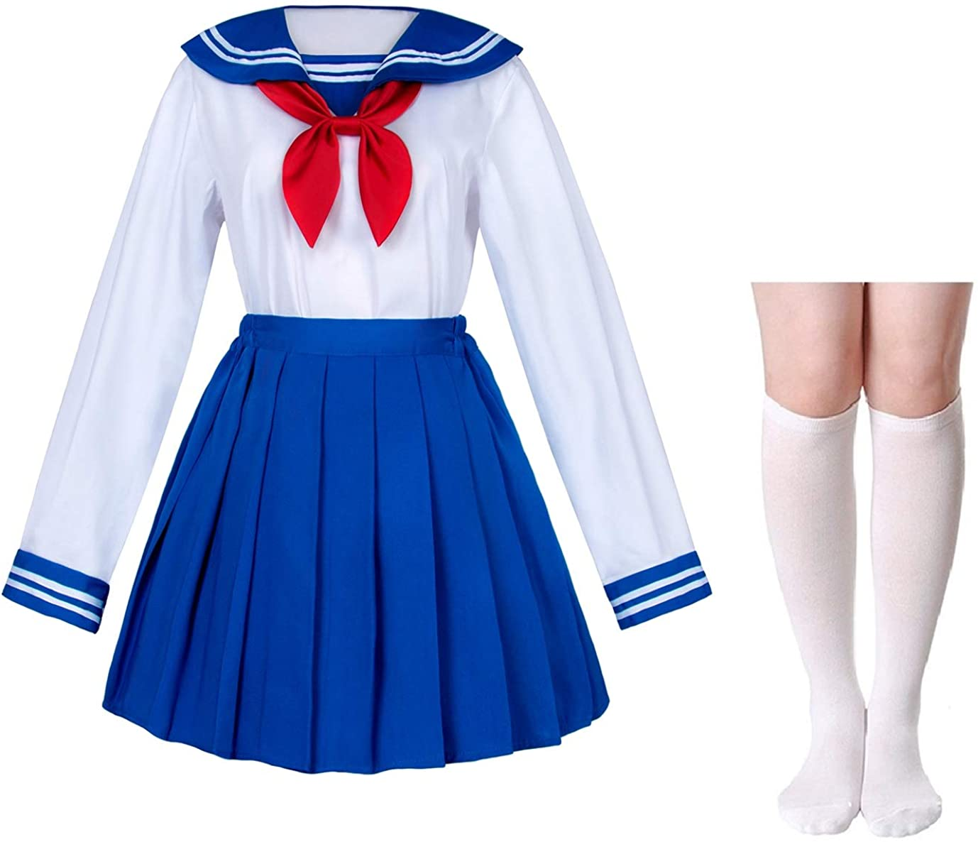 Japanese School Girls Uniform Sailor Navy Blue Pleated Skirt Anime Cosplay  Costumes with Socks Set(SSF8)