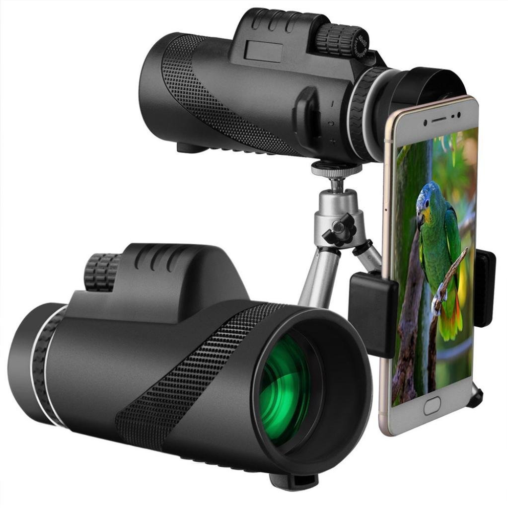 Monocular Telescope,40x60 High Power Prism FMC Lens Waterproof Scope with Quick Smartphone Holder and Tripod Camera Remote Control - for Wildlife like Bird-watching,Travel,Concert,Sports,Out (Black)