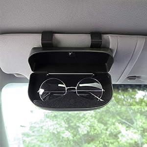 Nine Summer Car Sun Visor Glasses Case Holder Clip,Eyeglasses Storage Holder Organizer Box with Magnetic Closure and Double Snap Clip Design,Apply to All Car Models (Black)
