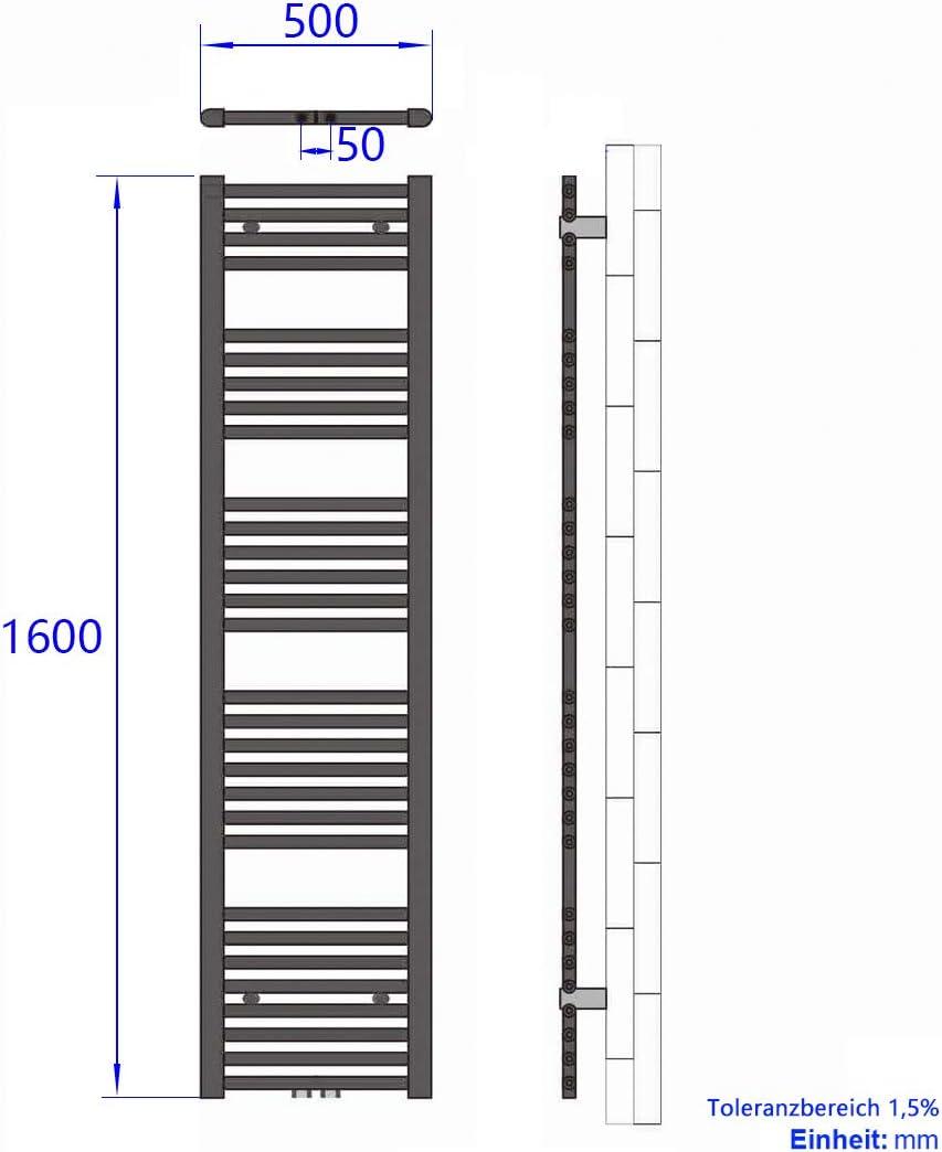 Duschdeluxe Badheizk/örper Handtuchtrockner 100x60 cm Heizk/örper Bad Mittelanschluss handtuchhalter heizk/örper Wei/ß