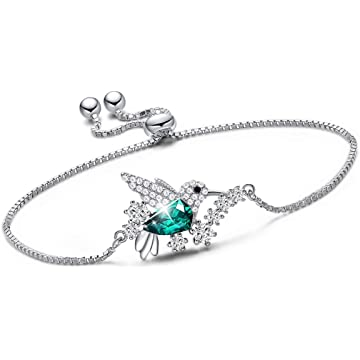 CDE S925 Sterling Silver Hummingbird Bracelet for Women, Embellished with Crystals from Swarovski Bracelet Jewelry for Women Girls
