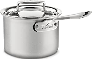 All-Clad BD55202 D5 Brushed 18/10 Stainless Steel 5-Ply Bonded Dishwasher Safe Sauce Pan Cookware, 2-Quart, Silver