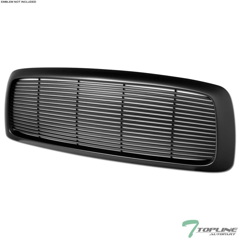Topline Autopart Matte Black Horizontal Front Hood Bumper Grill Grille ABS For 02-05 Dodge Ram 1500/03-05 2500/3500 by Topline_autopart