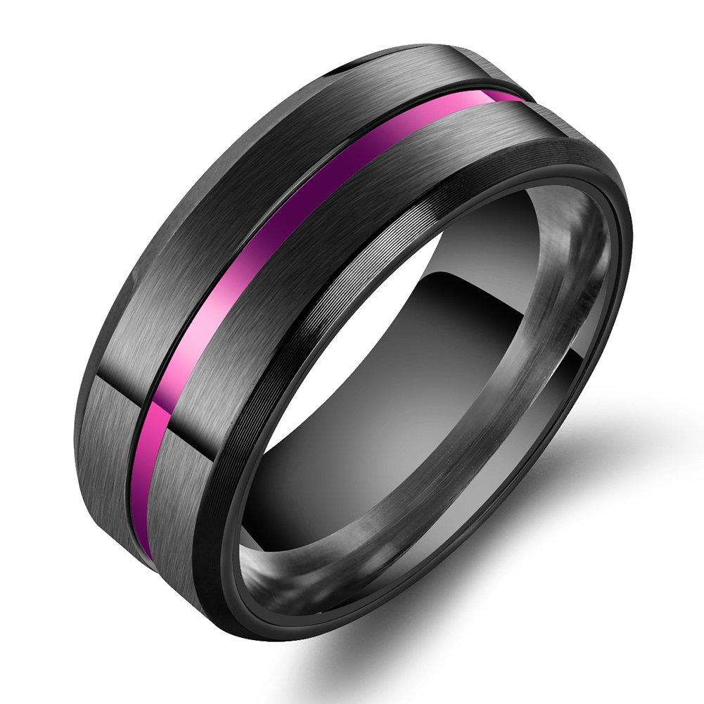 JAJAFOOK Purple Groove Brushed Titanium Steel Ring Thin Beveled Stepped Edge Wedding Black Band by JAJAFOOK
