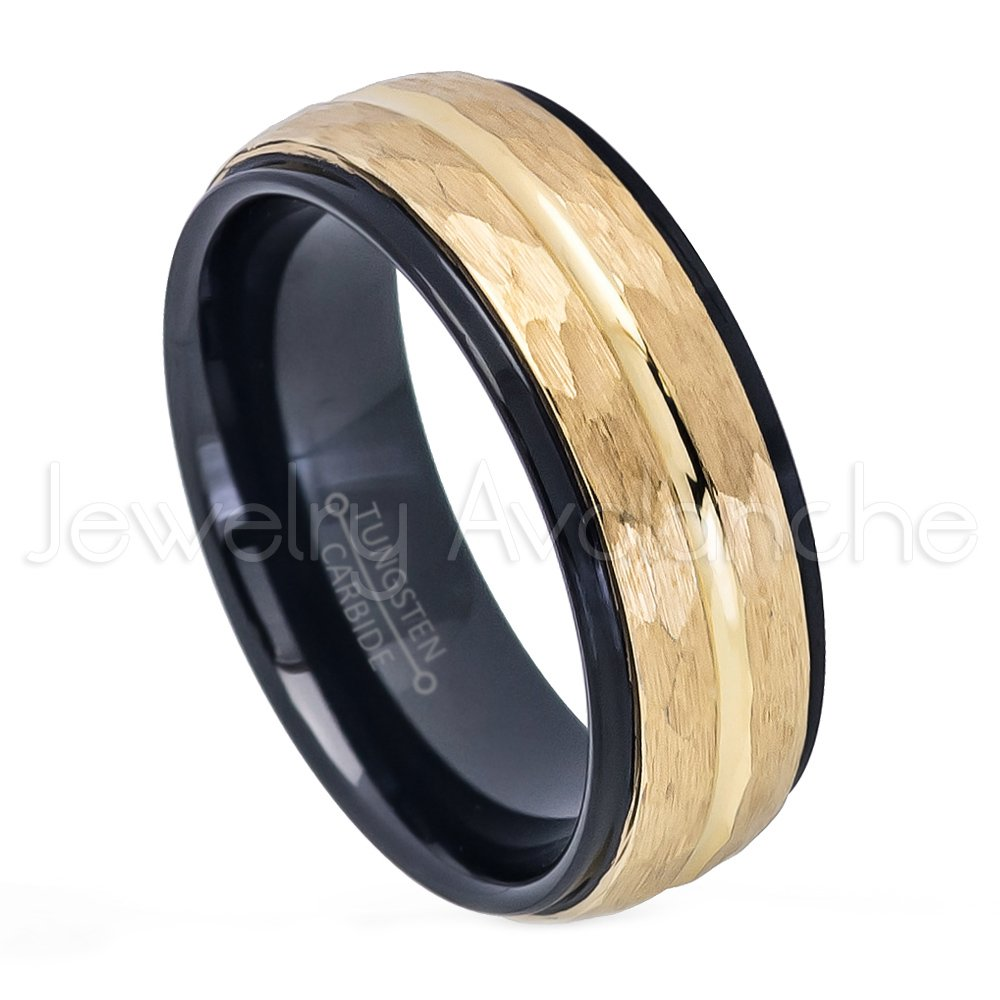 Jewelry Avalanche 2-Tone Hammered Finish Tungsten Wedding Band - 8mm Yellow & Black IP Comfort Fit Tungsten Carbide Anniversary Ring - s11