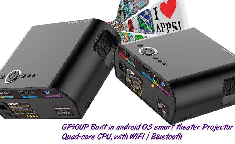 フルカラー200インチの大画面AmartのAndroidのバージョンLED LCDプロジェクター3200ルーメン1280 * 768 Android(1 + 8GB)プロジェクターは、Bluetooth WIFI KODI AC3に内蔵されています B071VZXDYV