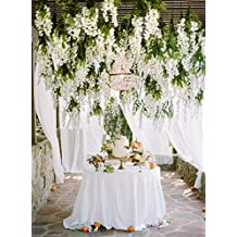e-Joy 24 Piece Realistic Artificial Silk Wisteria Vine Ratta Silk Hanging Flower Plant for Home Party Wedding Decor and Other Various Events, Each White