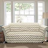 Lush Decor Chevron Furniture Protectors, Sofa, Taupe