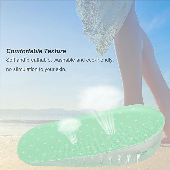 Adh/ésif Semelles Grandissantes en Silicone Gel Hauteur Augmentation Int/érieur Talonnettes de Chaussures 1.5cm-Vert