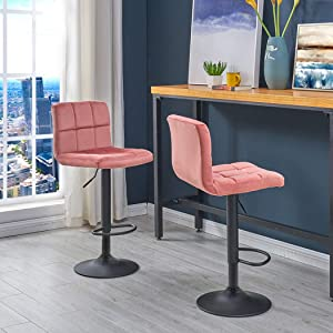 Duhome Set of 2 Velvet Bar Stools,Modern Square Adjustable BarStools Counter Height Stools and Back Bar Chairs 360° Swivel Stool Pink