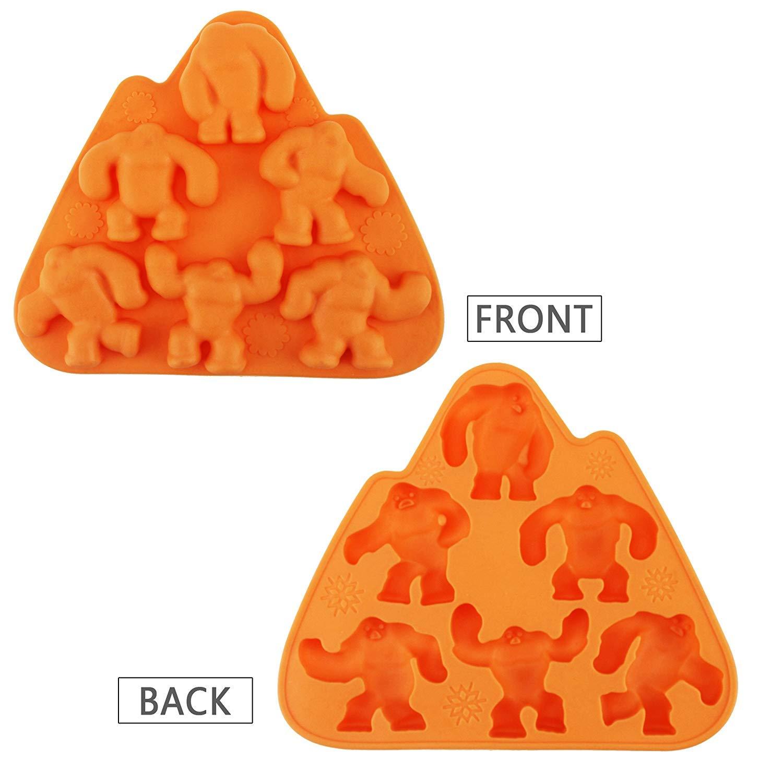 IZTOSS Orange Freeze Ice Mold Tray-Ice Cube Lattice Silicone-Wendigo shape-Pack of 3