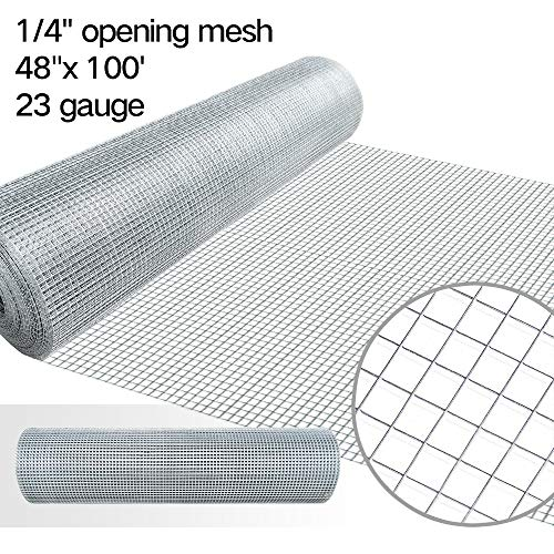 48x100 Hardware Cloth 1/4 Inch Galvanized Welded Cage Wire 23gauge Fence Mesh Roll Garden Plant Supports Poultry Netting Square Chicken Wire Snake Fencing Gopher Fence Racoons Rabbit Pen Gutter Guard