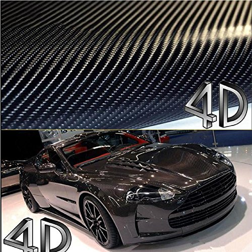 DIYAH 4D Black Carbon Fiber Vinyl Wrap Sticker with Air Realease Bubble Free Anti-Wrinkle (120'' x 60'' / 10FT x 5FT)