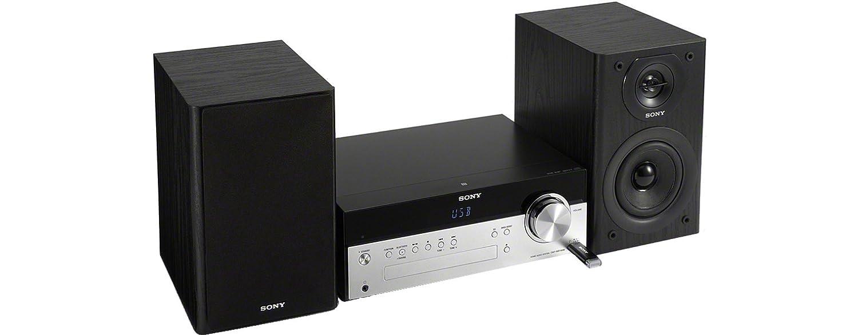 Sony CMT-SBT100 - Microcadena Hi-Fi de 50W (estéreo, CD, Am/FM, Bluetooth, NFC, USB), Negro y Plateado