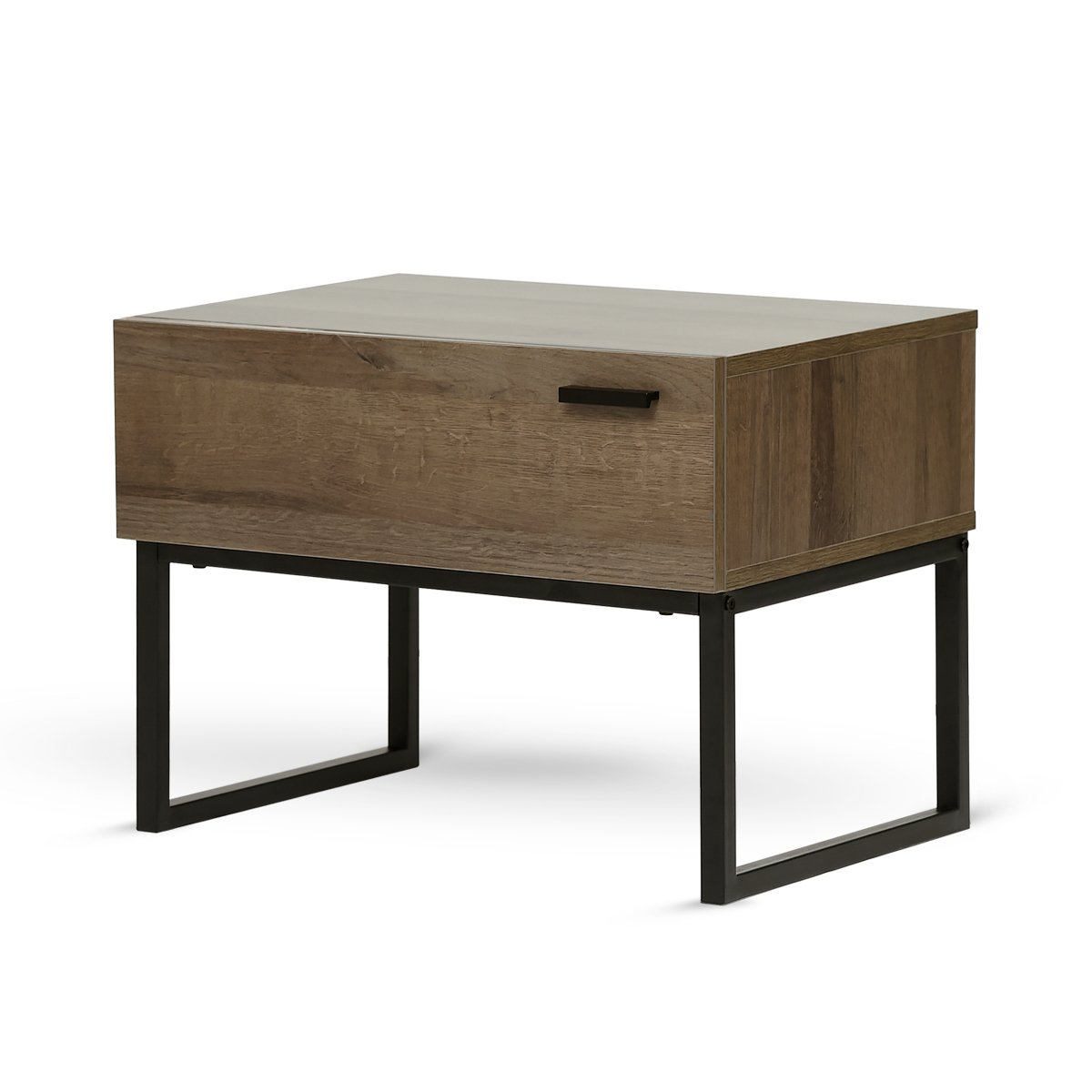 1 Drawer Nightstands for Living Room or Bedroom, Oak Finish with Black Metal Legs (Gray Oak) WLIVE PC-BJG-SNG1A-Q1-N