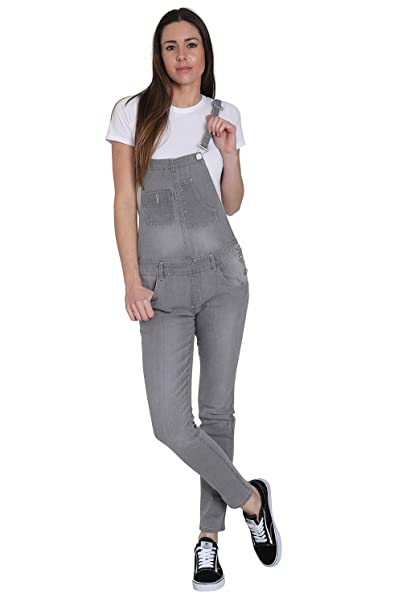 Wash Clothing Company Blue Denim Skinny Fit Dungarees Ladies Bib Overalls Narrow Leg TALIA3PALEBLUE