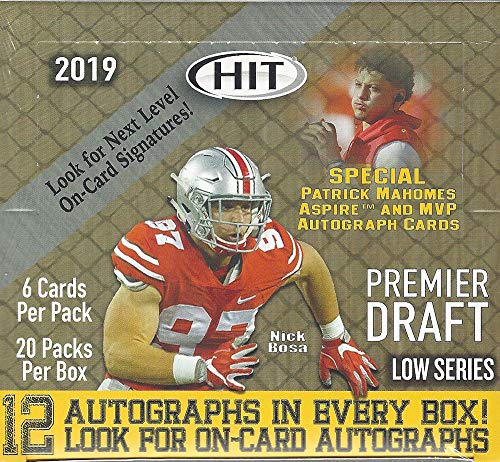 2019 SAGE Hit Premier Draft Low Series Football HOBBY box (20 pk, TWELVE Autograph cards!)