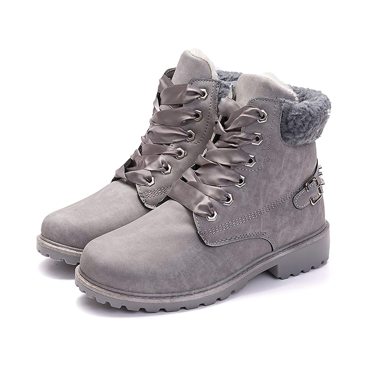 Mostrin Womens Lace Up Round Toe Ankle Boots Leather Flat Cotton Winter Warm Snow Boots