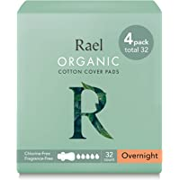 (4 Pack) - Rael 100% Organic Cotton Menstrual Overnight Pads - Thin Natural Sanitary Napkins With Wings (4 Pack of 8 Pads)