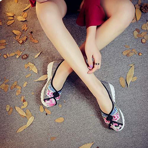 E Scarpe Tessuto Sneaker Leggero Fiore Piattaforma All'aperto Donna Da Vulcanizzate Ricamo Alti Denim Primavera Autunno Tacchi Ysfu Sportive 5Ywaqd5
