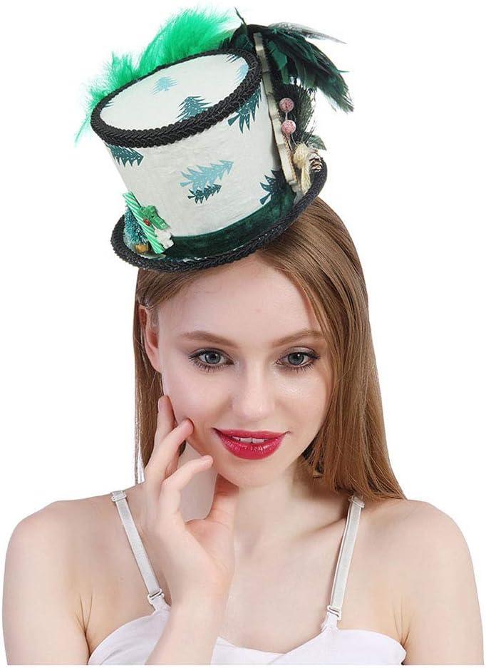 SGJFZD Micro Sombrero de Copa de Mujer, Sombrero de Navidad de Santa, Sombrero de Vacaciones, Sombrero Blanco y Verde, Sombrero de la Fiesta del té Loco, Sombrero de suéter Feo, Gorro de Santa Mini