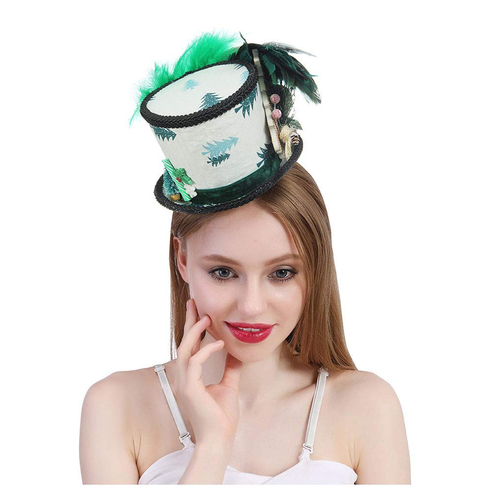 Green Elegdy Women's Mini Top Hat White And Green Hat, Mad Tea Party Hat Ugly Sweater Hat, Santa Mini Top Hat Micro Hat