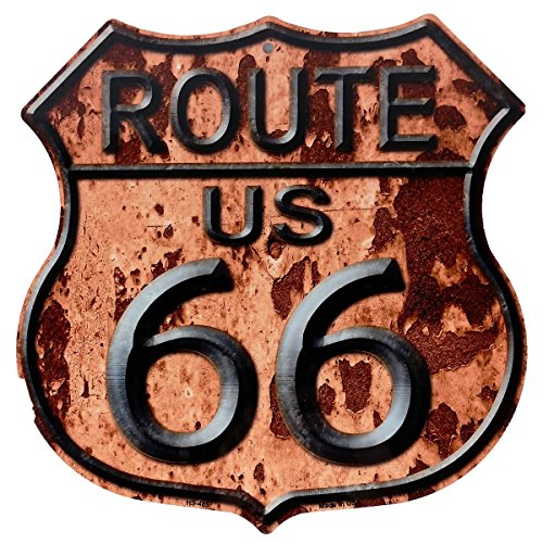Route 66 Rusty Distressed Look Highway Shield Metal Sign