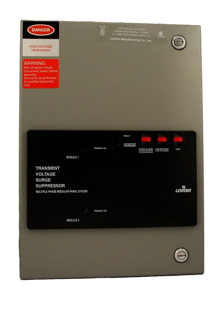 Leviton 52120-M2 120/240 Volt Single Phase, Surge Panel with Replaceable Surge Modules, 100kA L-N Max Surge Current, NEMA 12 Enclosure by Leviton (Image #1)
