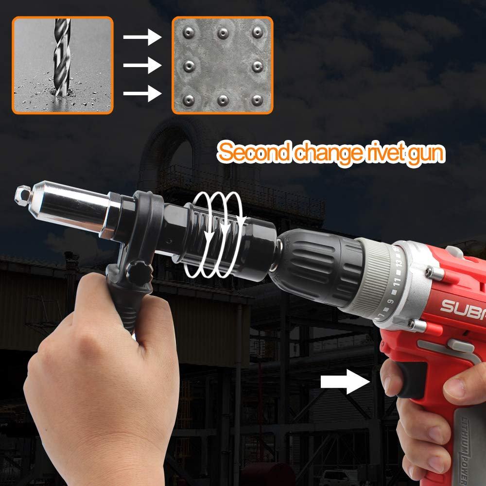 Cordless Drill Electric Rivet Gun Adapter-Professional Riveting Insert Nut Hand Tool Kit with Aluminum Casting Housing and a Non-slip Handle-4pcs Convertible Head and a Wrench by DoubleSun (Image #4)