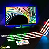 TV Backlight Kit - Powered USB LED Strip Lights for 40 to 60 Inch HDTV - Bias Lighting with 24keys Romote Control RGB Lighting
