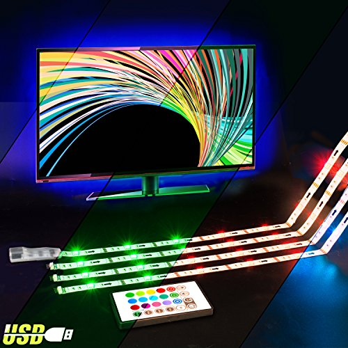 LED TV Backlight,ViLSOM Powered USB LED Strip Lights 6.56Ft for 40 to 60 inch HDTV - Bias Lighting with 24keys Romote Control RGB Lighting by ViLSOM