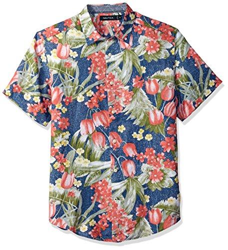 Nautica Men's Short Sleeve Classic Fit Print Linen Button Down Shirt, Boardwalk Blue Medium