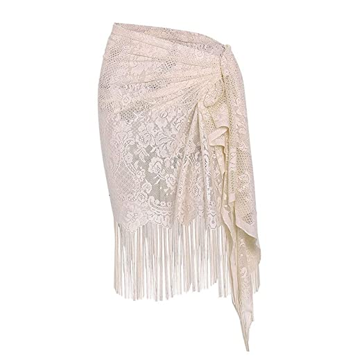cd46ca6140 Women's Swimwear Cover Up Vintage Flower Lace Sarong Swimsuit Wrap with  Tassel Summer Bikini Beach Skirt