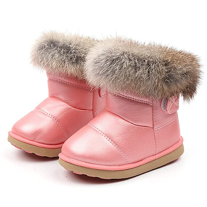 1e678f38682f2 Infant Toddler Baby Boys Girls Boots Mingfa Winter Warm Leather Fur Snow  Boots Kids Child First Walking Shoes,1-6 Years
