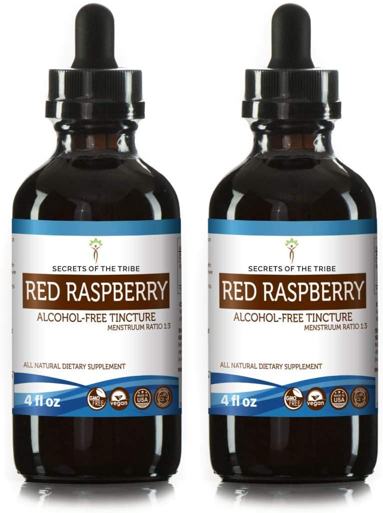Red Raspberry Tincture Alcohol-Free Extract, Organic Red Raspberry Rubus idaeus Dried Leaf 2×4 FL OZ