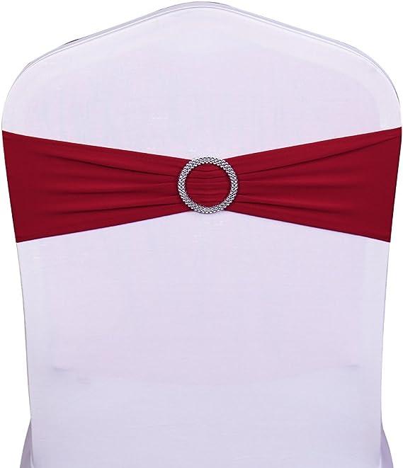 SINSSOWL 100 pcs /élastique Spandex Housses de Chaise Bandes n/œuds pour d/écorations de f/ête de Mariage de fournisseurs Chaise n/œuds violet